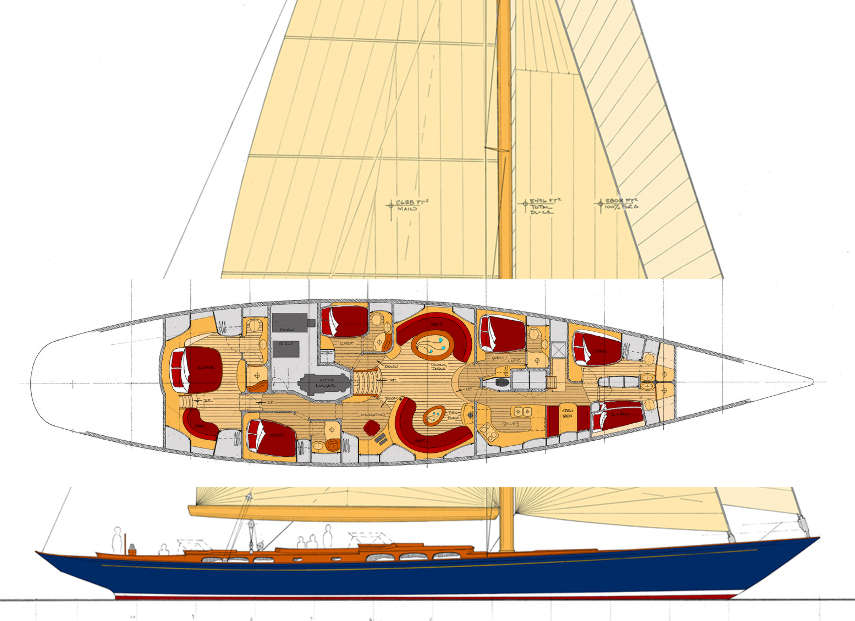 108' Classic Centreboard Aluminum Cutter ~ Sail Boat Designs by Tad Roberts