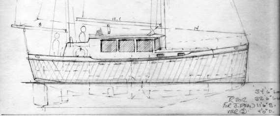 "Dean 345 Motorsailer, 34'5"" Traditional Aluminum Ketch ~ Sail Boat Designs by Tad Roberts"