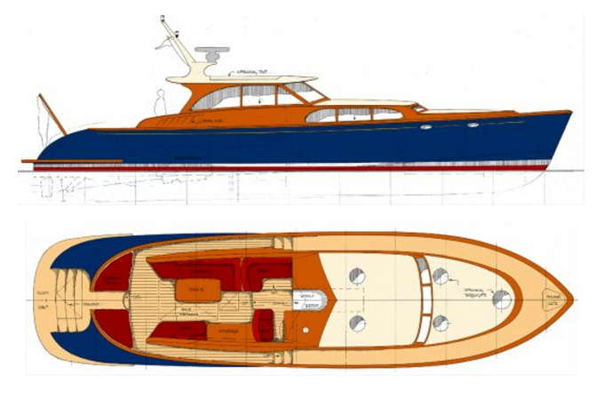 Philbrook 39 s express 58 power boat designs by tad roberts for Picnic boat plans