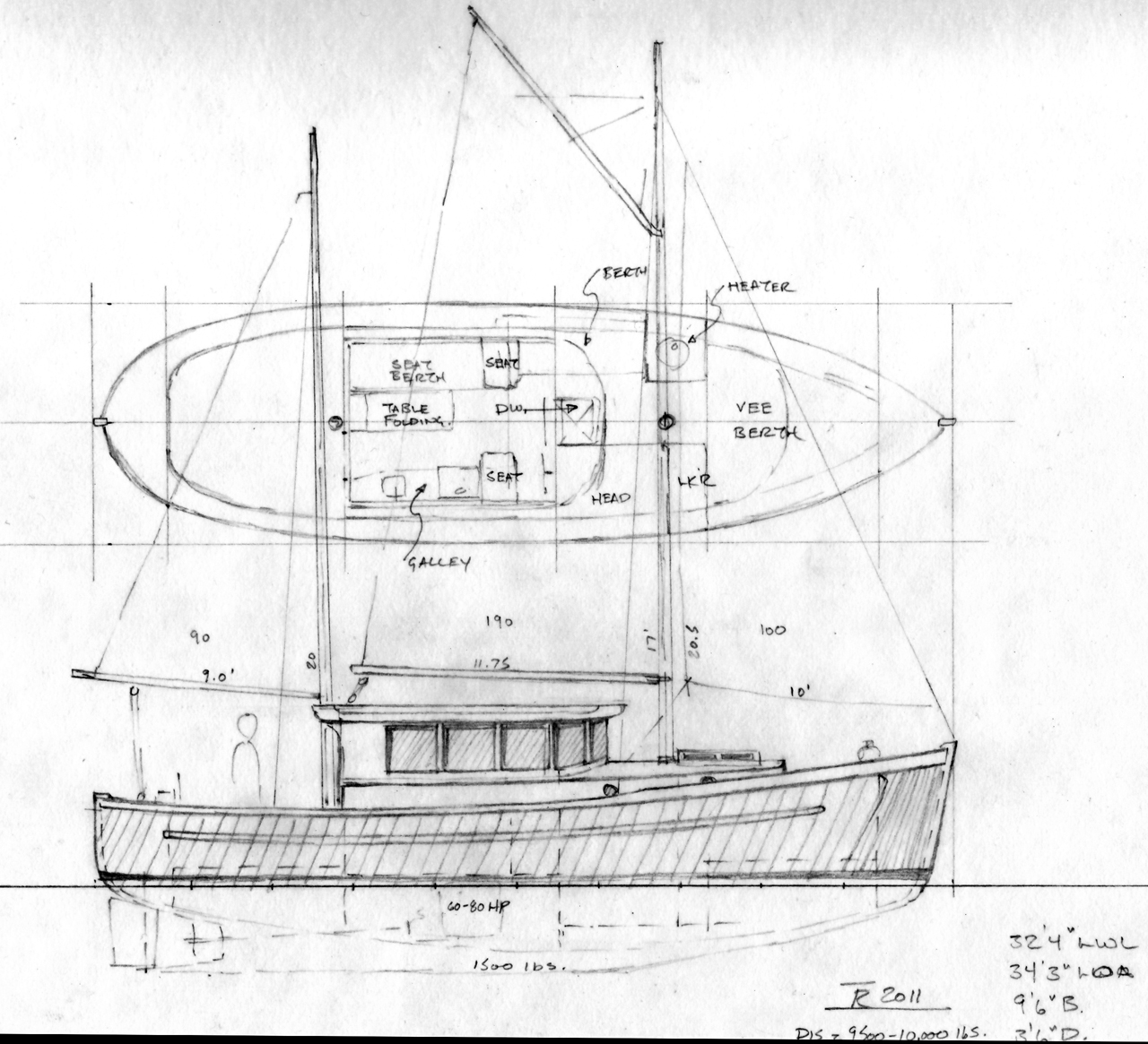 Northcoast 34 sail assisted motor vessel power boat for Motor sailer boat plans