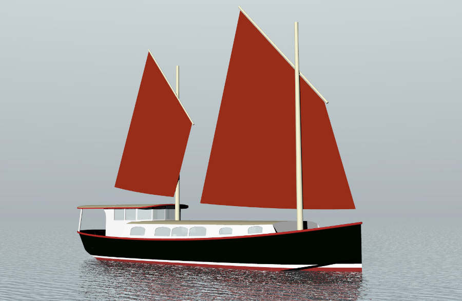 48' Steel Sailing House Barge ~ Sail Boat Designs by Tad Roberts