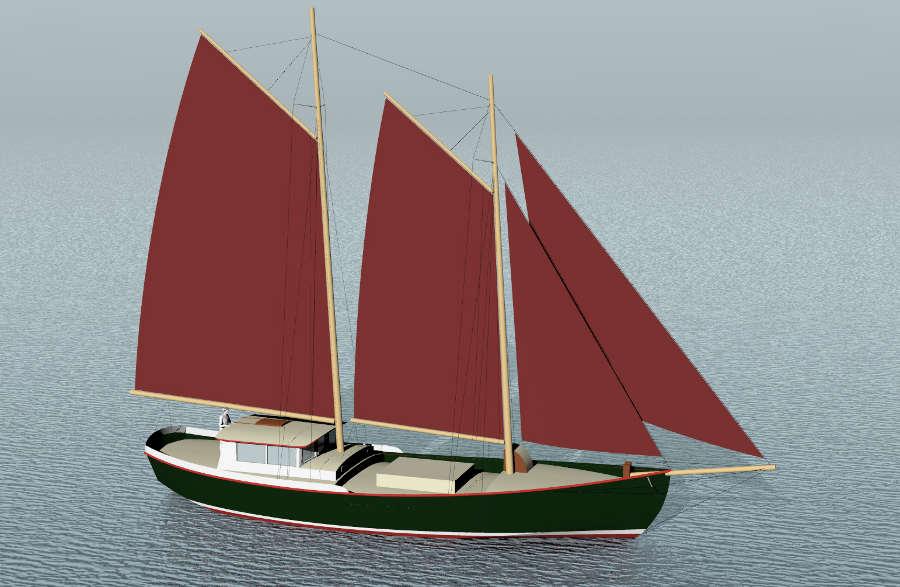 Steel 60' Cargo Schooner ~ Sail Boat Designs by Tad Roberts