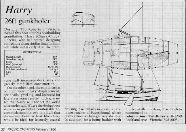 1986 Pacific Yachting Review of Harry