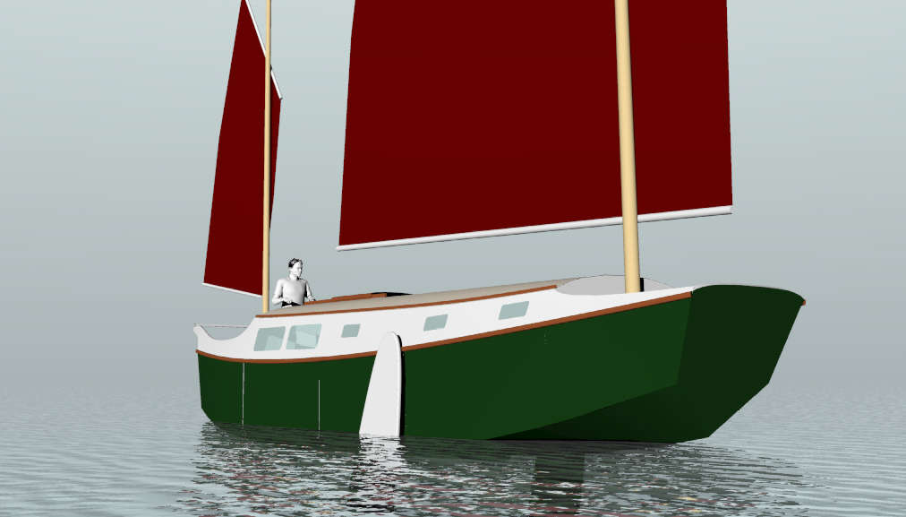 II, 30' LOD, 27' LWL Sailing Scow ~ Small Boat Designs by Tad Roberts
