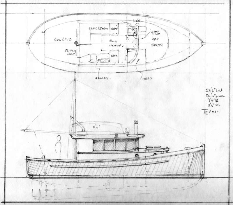 Johnson 28' Double-ended BC Workboat-style Traditional Cruiser ~ Small Boat Designs by Tad Roberts