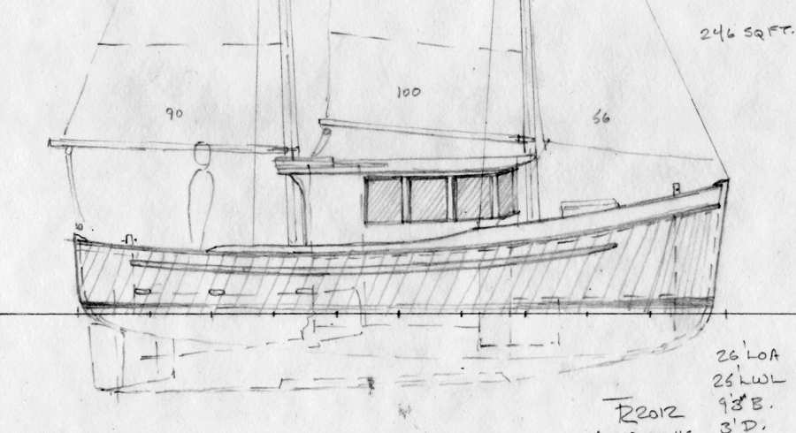 Northcoast 26. Double-ended Wooden Cruiser, Schooner Rig ...