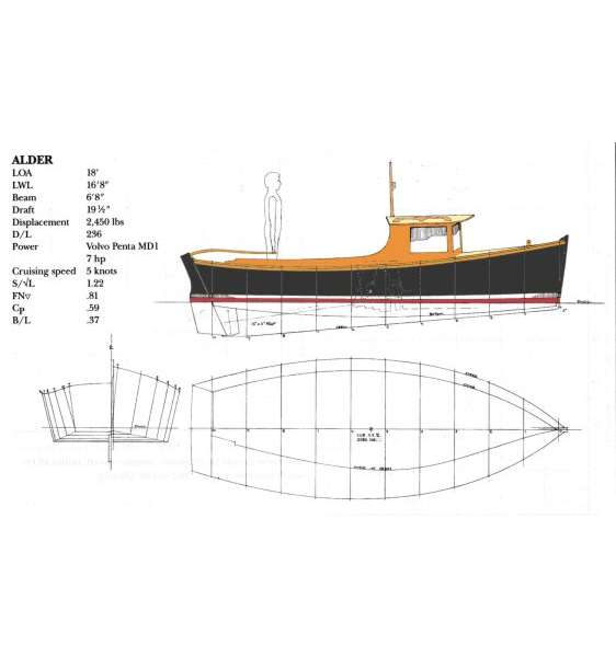 Alder 18' Flat-bottomed Island Support Boat ~ Small Boat Designs by
