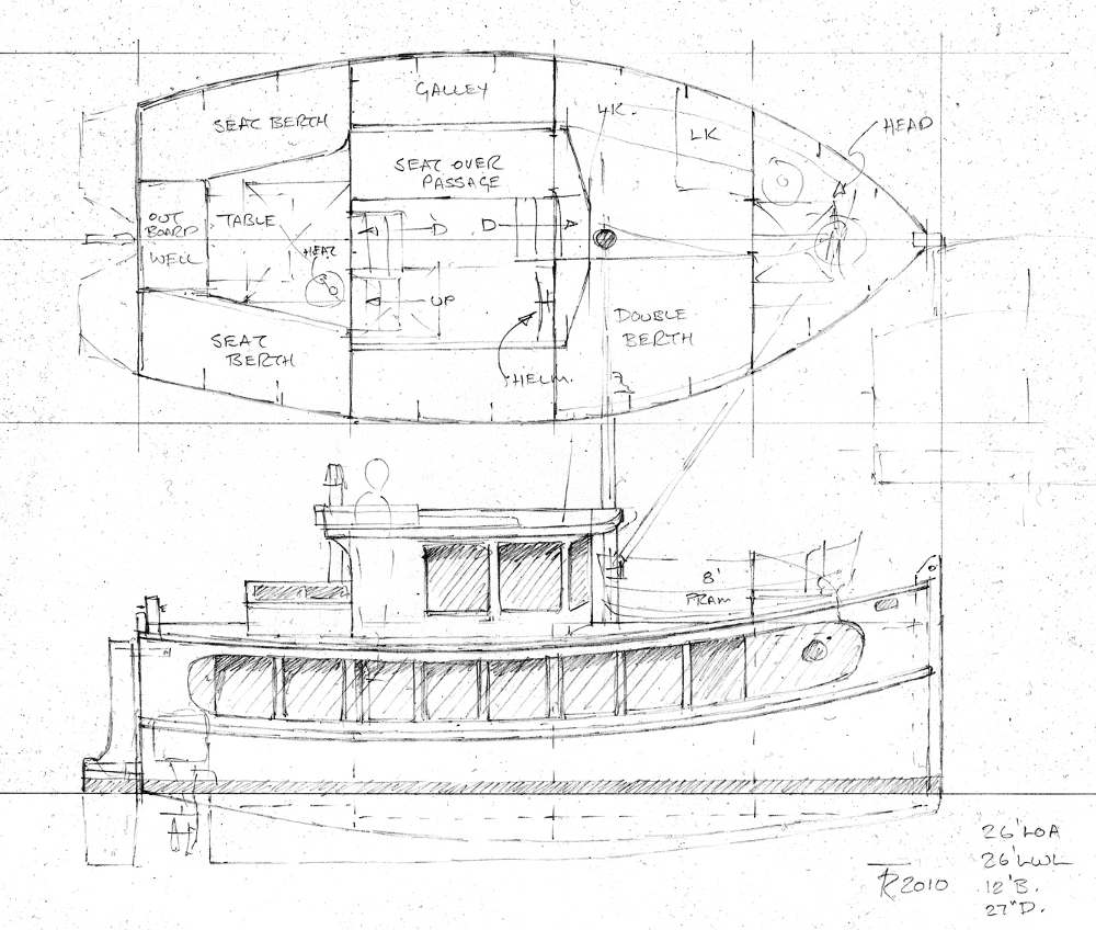 Small self powered house barges and shanty boats under 29 for Boat house blueprints