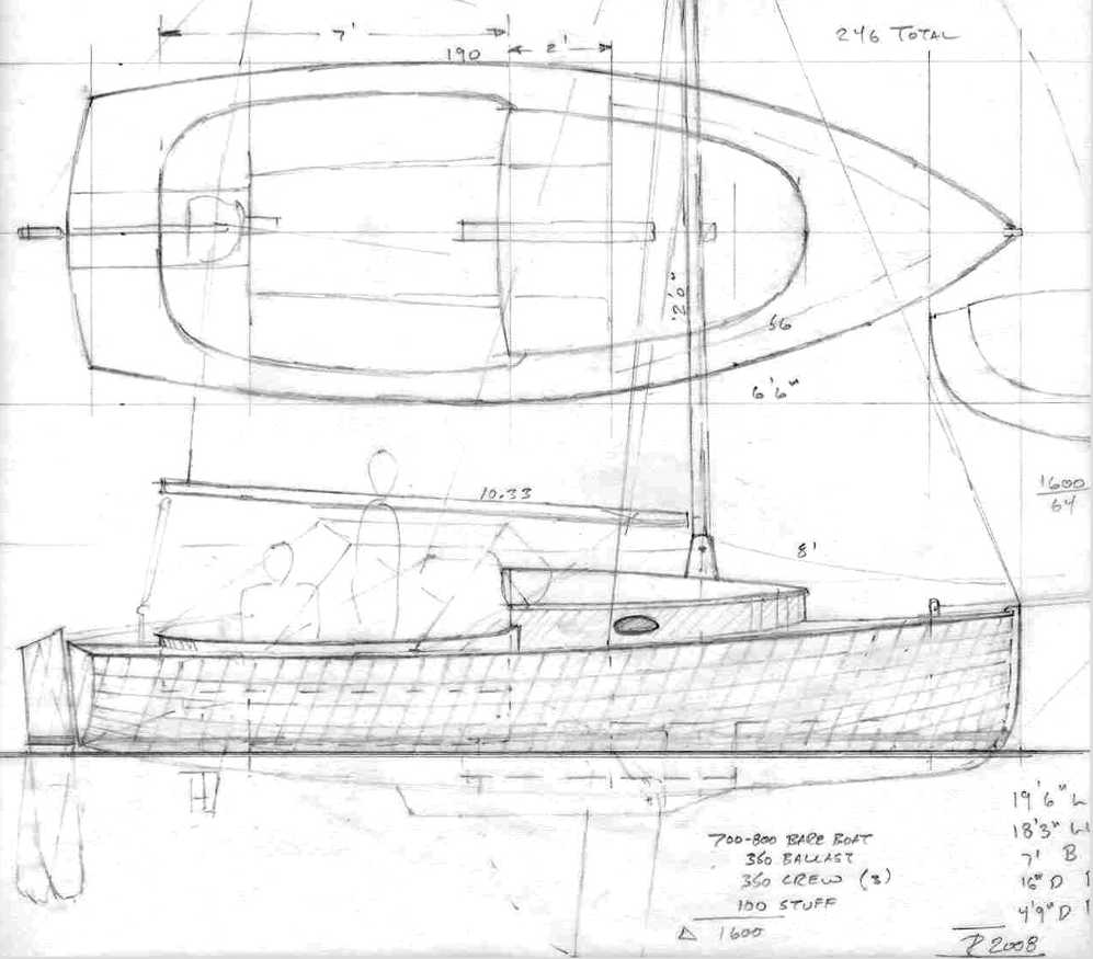 "19' 5"" Sailing Scooter ~ Small Boat Designs by Tad Roberts"