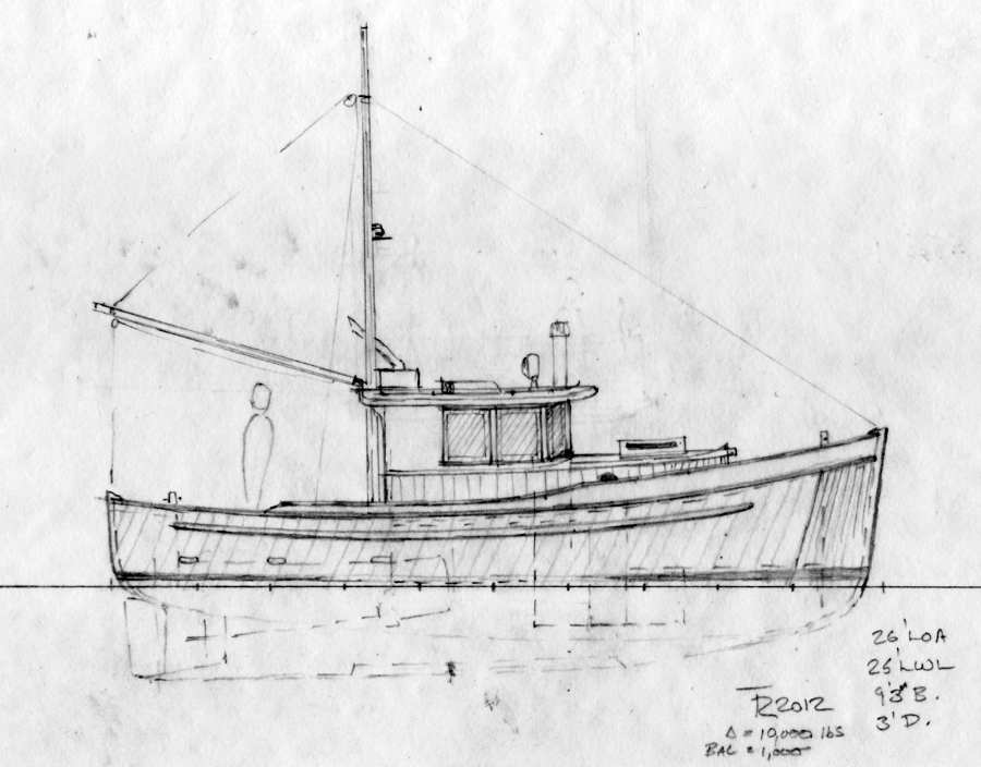 Northcoast 26. Double-ended Wooden Cruiser, Schooner Rig or Flyingbridge. ~ Small Boat Designs ...